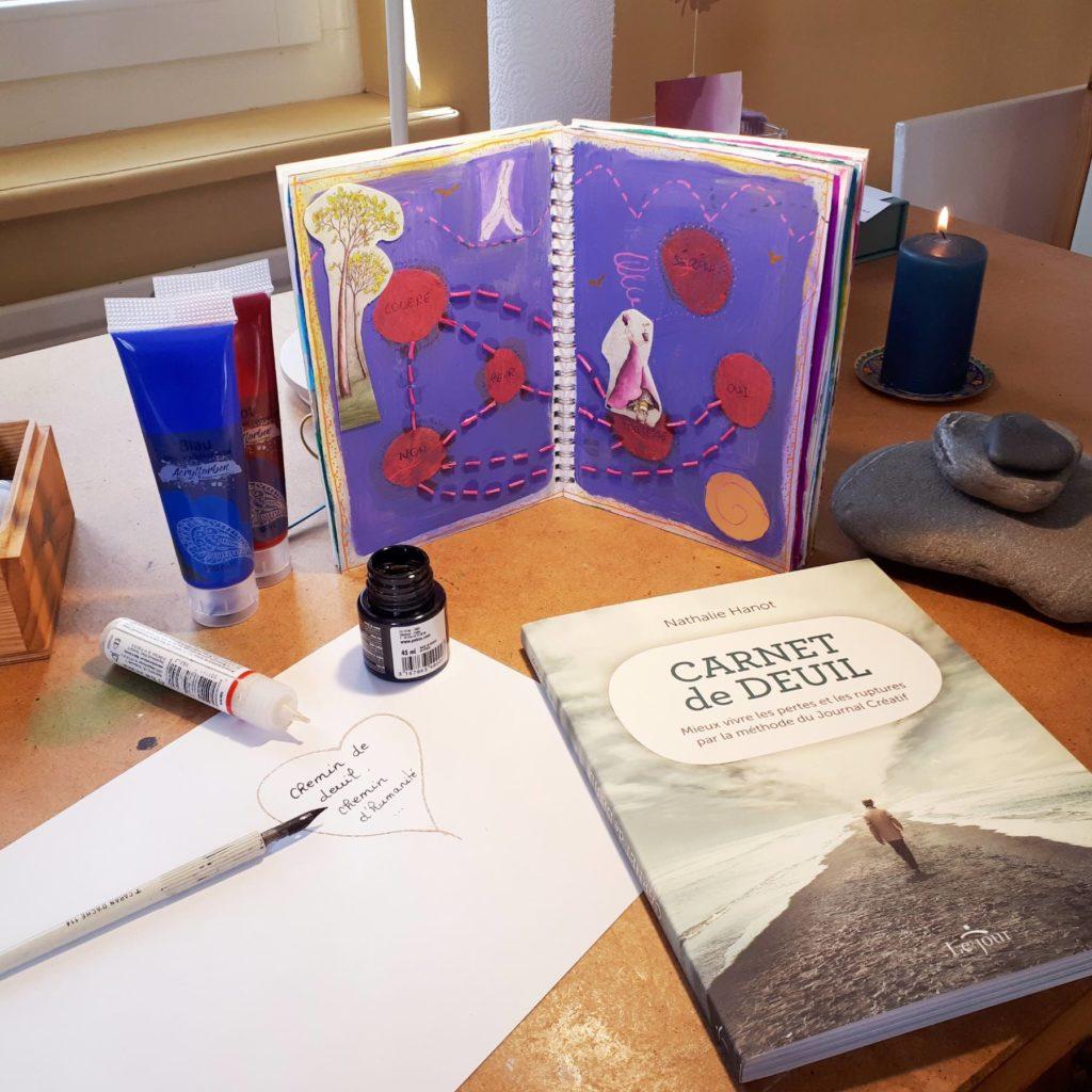 image d'une page d'un carnet de deuil avec une plume et de l'encre et le livre cernet de deuil de Nathalie Hanot